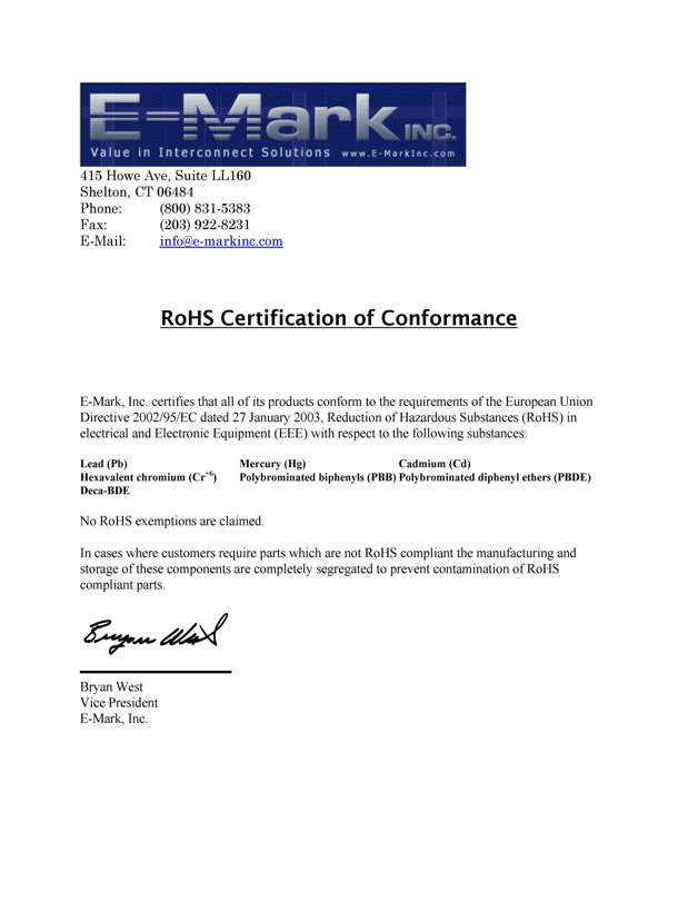 Sample Rohs Compliance Statement